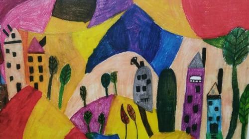 Obrazek galerii Jesienne prace uczniów insirowane poezją Ks. Jana Twardowskiego
